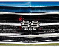 Close up of the grill of a blue Chevelle SS 396 at the 2010 Wings 'n' Wheels Showcase, Galway, New York.