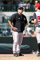June 15th 2008:  Pitching Coach Tom Signore of the Lansing Lugnuts, Class-A affiliate of the Toronto Blue Jays, during a game at Dow Diamond in Midland, MI.  Photo by:  Mike Janes/Four Seam Images