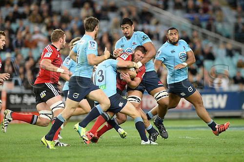 23.05.2015.  Sydney, Australia. Super Rugby. NSW Waratahs versus the Crusaders. Waratahs centre Adam Ashley-Cooper and Waratahs lock Will Skelton halt the Crusaders. The Waratahs won 32-22.