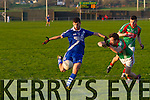 St Marys Sean Cournane nearly gets his hat-trick of goals in the second of the SK Semi Finals in Cahersiveen on Sunday but defensive cover by St Michaels/Foilmore's Alan Smith does just enough to deny the chance.<br /> or<br /> St Marys are the bookies favorites to take the South Kerry Championship pictured Sean Cournane in top form with two goals in the Semi Final.