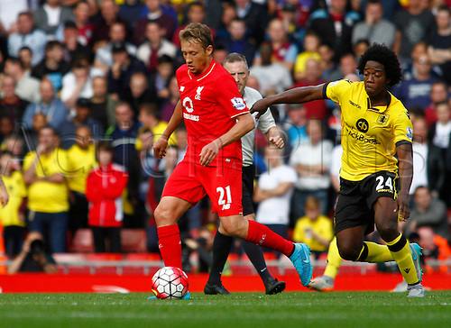 26.09.2015. Liverpool, England. Barclays Premier League. Liverpool versus Aston Villa. Liverpool's Lucas Leiva holds off the challenge of Aston Villa's Carlos Sánchez.