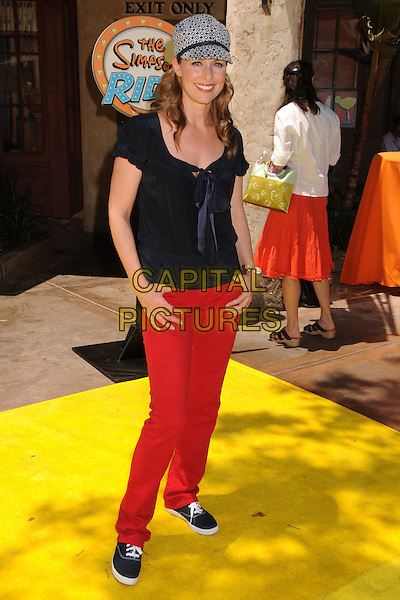 "MELORA HARDIN.""The Simpsons Ride"" Opening at Universal Studios Hollywood, Universal City, California, USA..May 17th, 2008.full length top red jeans denim white black pattern hat .CAP/ADM/BP.©Byron Purvis/AdMedia/Capital Pictures."