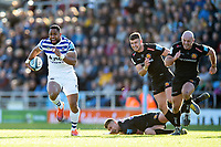 Joe Cokanasiga of Bath Rugby is chased by Henry Slade, Ollie Devoto and Jack Yeandle of Exeter Chiefs. Gallagher Premiership match, between Exeter Chiefs and Bath Rugby on March 24, 2019 at Sandy Park in Exeter, England. Photo by: Patrick Khachfe / Onside Images