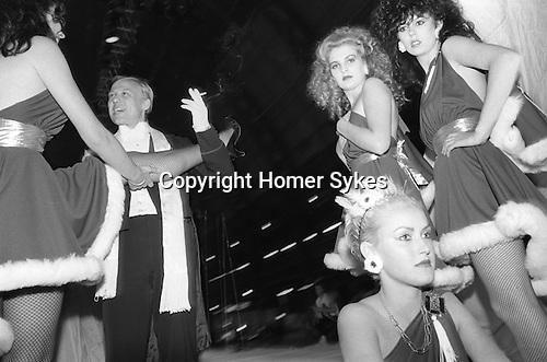 Alternative Miss World Competition London UK 1981. Corus girls limbering up.
