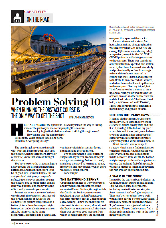 "March 2015 ""On the Road"" travel photography column in Shutterbug Magazine by Blaine Harrington III titled ""Problem Solving 101"""