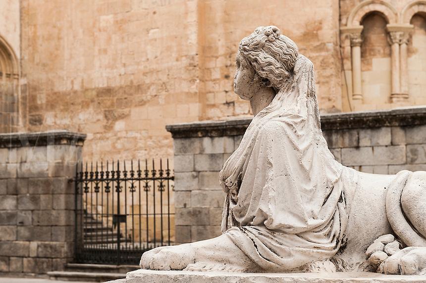 Siren Sphinx statue in the Medina del Campo, Segovia, Spain
