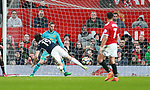Jay Rodriguez of West Bromwich Albion dives to head the first goal of the match during the premier league match at the Old Trafford Stadium, Manchester. Picture date 15th April 2018. Picture credit should read: Simon Bellis/Sportimage