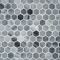 3 cm Hex shown in Greystoke polished, is part of The Studio Line of Ready to Ship mosaics.<br /> <br /> For pricing samples and design help, click here: http://www.newravenna.com/showrooms/
