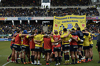 11th January 2020, Parc des Sports Marcel Michelin, Clermont-Ferrand, Auvergne-Rhône-Alpes, France; European Champions Cup Rugby Union, ASM Clermont versus Ulster;  Morgan Parra speaks with his victorious team after the match (asm)