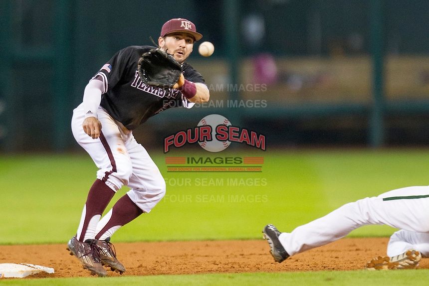 Texas A&M Aggies second baseman Ryne Birk (2) waits for a throw from the catcher during the Houston College Classic against the Baylor Bears on March 8, 2015 at Minute Maid Park in Houston, Texas. Texas A&M defeated Baylor 3-2. (Andrew Woolley/Four Seam Images)