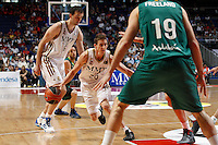 01.04.2012 SPAIN - ACB match played between Real Madrid vs Unicaja  at Palacio de los deportes stadium. The picture show Jaycee Carroll (American shooting guard of Real Madrid)