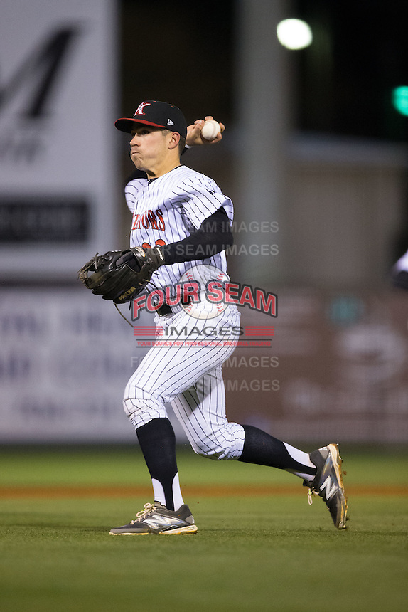 Kannapolis Intimidators second baseman Daniel Mendick (22) makes a throw to home plate during the game against the Hickory Crawdads at Kannapolis Intimidators Stadium on April 9, 2016 in Kannapolis, North Carolina.  The Crawdads defeated the Intimidators 6-1 in 10 innings.  (Brian Westerholt/Four Seam Images)