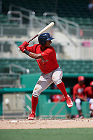 Boston Red Sox shortstop Antoni Flores (15) at bat during a Florida Instructional League game against the Baltimore Orioles on September 21, 2018 at JetBlue Park in Fort Myers, Florida.  (Mike Janes/Four Seam Images)