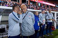 HOUSTON, TX - FEBRUARY 03: Milan Ivanovic and Philip Poole of the United States talk during a game between Costa Rica and USWNT at BBVA Stadium on February 03, 2020 in Houston, Texas.