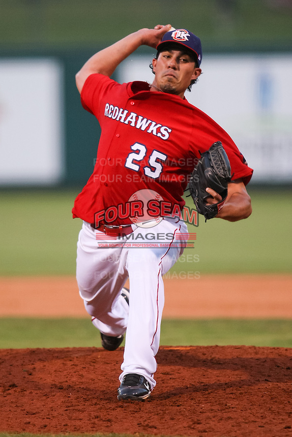 Sergio Perez (25) in action during the MiLB matchup between the New Orleans Zephyrs and the Oklahoma City Redhawks at Chickasaw Bricktown Ballpark on June 10th, 2012 in Oklahoma City, Oklahoma. The Redhawks defeated the Zephyrs 12-9  (William Purnell/Four Seam Images)