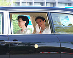 Japan's new Empress Masako waves from her vehicle upon departing at the Imperial Palace in Tokyo, Japan on May 1, 2019, the first day of the Reiwa Era. (Photo by MATSUO.K/AFLO)