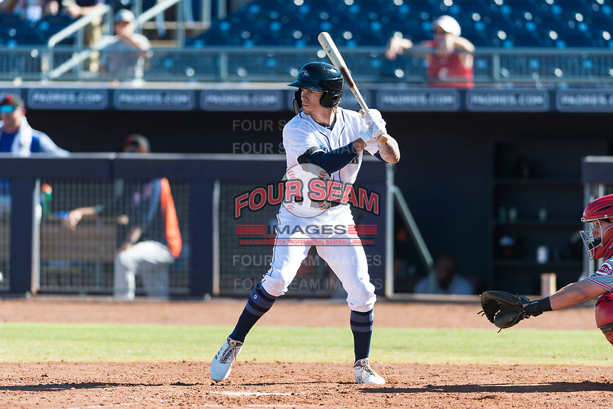 Peoria Javelinas center fielder Ian Miller (9), of the Seattle Mariners organization, at bat during an Arizona Fall League game against the Scottsdale Scorpions at Peoria Sports Complex on October 18, 2018 in Peoria, Arizona. Scottsdale defeated Peoria 8-0. (Zachary Lucy/Four Seam Images)