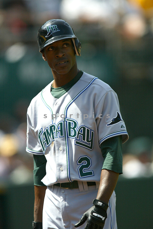 B.J. UPTON, of the Tampa Bay Devil Rays , in action during the  Devil Rays game against the Oakland A's  on April 28, 2007 in Oakland, California..A's win 12-5...Rob Holt/ SportPics..