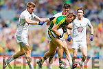 James O'Donoghue, Kerry in action against Ciaran Fitzpatrick, and Mick O'Grady, Kildare in the All Ireland Quarter Final at Croke Park on Sunday.