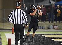 NWA Democrat-Gazette/CHARLIE KAIJO Bentonville High School Landon Beeler (30) scores during a football game, Friday, November 2, 2018 at Bentonville High School in Bentonville.