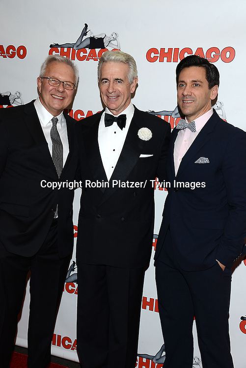 """Walter Bobbie, James Naughton and Michael    attend """"Chicago""""  becoming the 2nd Longest Running Show on Broadway at performance 7486 on November 23, 2014 at the Ambassodor Theatre in New York City."""