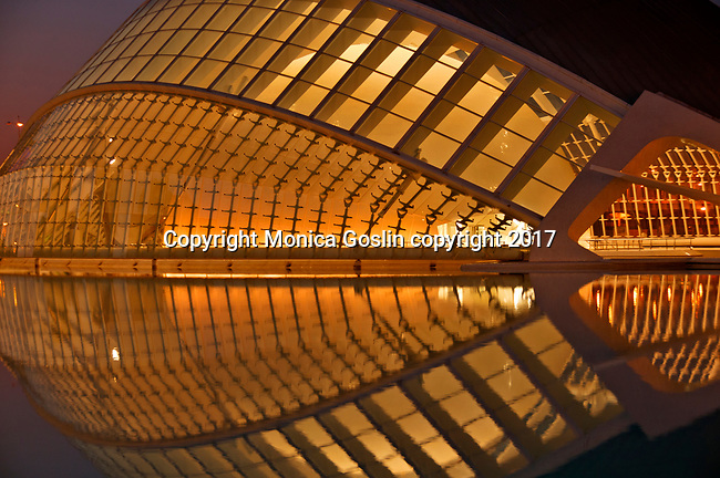 Hemisferic at night; City of Arts and Sciences complex built in the former riverbed of Turia river; designed by Sanitago Calatrava