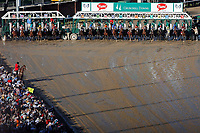 LOUISVILLE, KY - MAY 06: The field breaks from the gate at the start of the Kentucky Derby on Kentucky Derby Day at Churchill Downs on May 6, 2017 in Louisville, Kentucky. Always Dreaming #5, ridden by John Velazquez, won the race. (Photo by Jon Durr/Eclipse Sportswire/Getty Images)