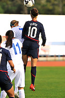 Carli Lloyd leaps high for a header. The USWNT defeated Iceland (2-0) at Vila Real Sto. Antonio in their opener of the 2010 Algarve Cup on February 24, 2010.