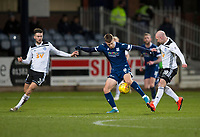 10th March 2020; Dens Park, Dundee, Scotland; Scottish Championship Football, Dundee FC versus Ayr United; Andrew Nelson of Dundee takes on Daniel Harvie and Grant Gillespie of Ayr United