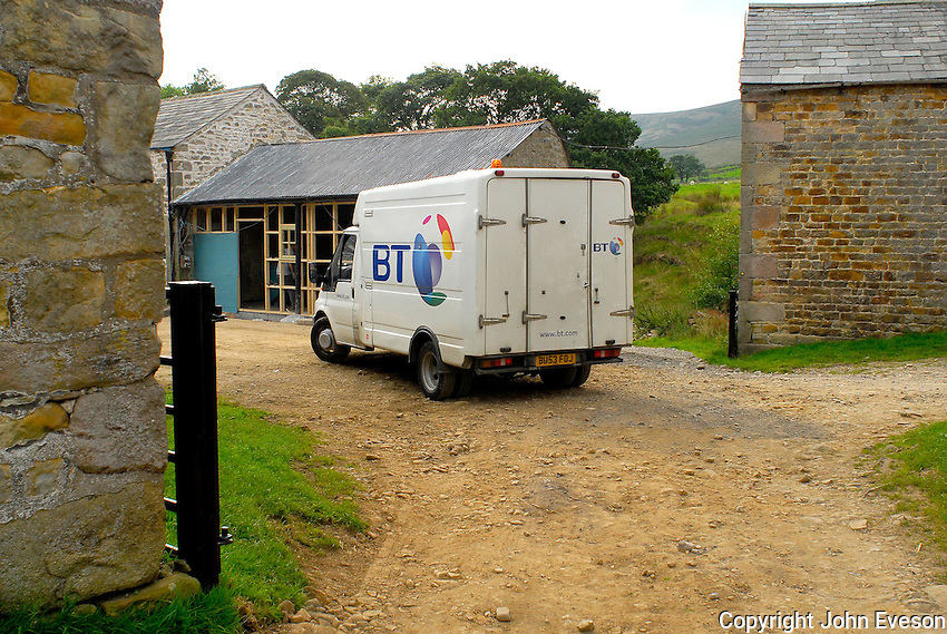 Electricity. BT van on a farm. Dinkling Green.