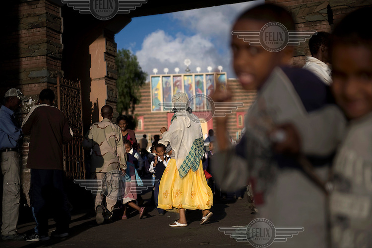 A street scene in front of the Orthodox Enda Mariam Cathedral in Asmara. ..