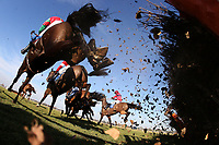 The field in jumping action during the Domenico Adorno 85th Birthday Novices' Handicap Hurdle .