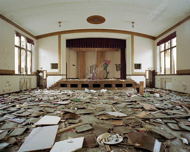 The Auditorium at Jane Cooper Elementary School was stripped of almost all metal, leaving only the wooden seats and backs, which now litter the floor. Detroit, Michigan, February, 19, 2009