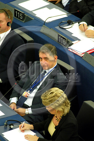 STRASBOURG - FRANCE - 26 OCTOBER 2004 --Rocco BUTTIGLIONE, Italian Commissioner designate in charge of Justice, Freedom and Security,  during the debate on the new EU commission in the EU Parliament the day before the vote.-- PHOTO: ERIK LUNTANG / EUP-IMAGES