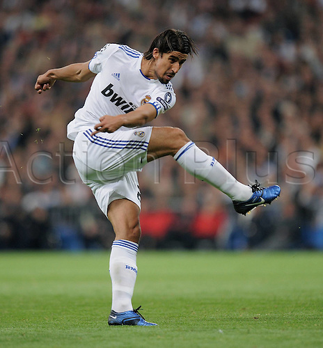 19.10.2010 Impressive Real Madrid took a giant step towards the knockout stages of the Champions League after defeating AC Milan thanks to two quickfire first-half goals. Picture shows Sami Khedira Real Madrid