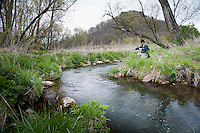 Fishing Bohemia Creek a tributary to the Timber Coulee Wisconsin's Driftless Area near Viroqua.