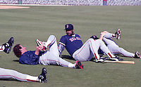 Boston Red Sox Frank Viola and Jim Rice stretch during spring training circa 1992 at Chain of Lakes Park in Winter Haven, Florida.  (MJA/Four Seam Images)