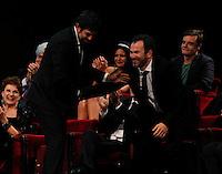 Cerimonia di consegna del premio Le Maschere del Teatro Italiano al Teatro San Carlo di Napoli , 5 Settembre 2014<br /> nella foto Pierfrancesco Favino e massimiliano Gallo