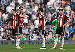 Chris Basham of Sheffield Utd rallies the players during the championship match at St Andrews Stadium, Birmingham. Picture date 21st April 2018. Picture credit should read: Simon Bellis/Sportimage