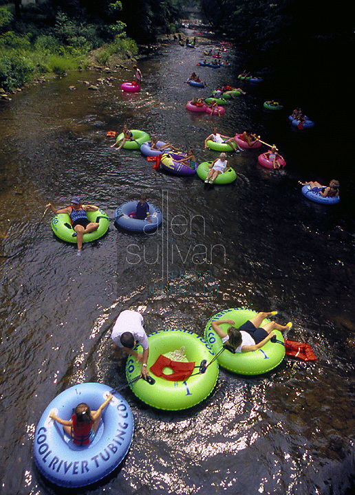 People float in tubes on the Chattahoochee River in Helen, Georgia in 2001. (Exact date not known.)