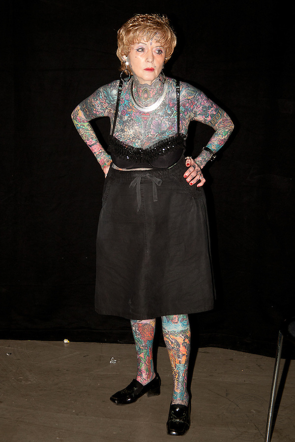 Snapshots from the Ink Festival in Copenhagen April 2011. Tree days of tattoo, tattooing and shows. The most tattooed senior lady, Isobel Varley.<br /> Read her story on: www.isobelvarley.com