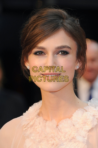 Keira Knightley (wearing Chanel)  .The World Premiere of 'Anna Karenina', The Odeon Leicester Square, London, England..4th September 2012.headshot portrait peach pink white sheer fluffy ruffle  .CAP/BEL.©Tom Belcher/Capital Pictures.