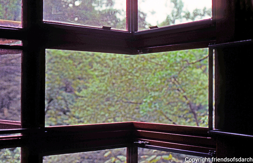 F.L. Wright: Fallingwater. Window of corner bedroom.  Photo '76.