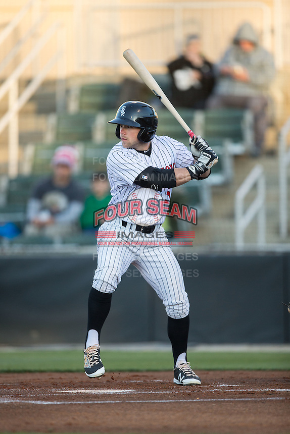 Tyler Sullivan (5) of the Kannapolis Intimidators at bat against the Hickory Crawdads at Kannapolis Intimidators Stadium on April 9, 2016 in Kannapolis, North Carolina.  The Crawdads defeated the Intimidators 6-1 in 10 innings.  (Brian Westerholt/Four Seam Images)