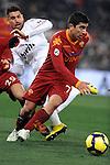 Pizarro (Roma) Borriello (Milan).Roma vs Milan.Campionato calcio Serie A.Stadio Olimpico, Roma, 06/03/2010.Photo Antonietta Baldassarre Insidefoto
