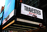"Theatre Marquee for ""Travesties"" on March 6, 2018 at the Roundabout Theatre in New York City."