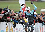 January 10, 2016 - Asheville, North Carolina, U.S. -  Trek Factory cyclist, Katie Compton, celebrates her victory during the USA Cycling Cyclo-Cross National Championships at the historic Biltmore Estate, Asheville, North Carolina.  Katie Compton wins the Women's Elite U.S. Cyclo-Cross Championship.