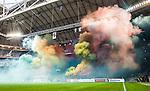 Solna 2015-08-10 Fotboll Allsvenskan AIK - Djurg&aring;rdens IF :  <br /> R&ouml;k fr&aring;n bengaler under ett tifo av Djurg&aring;rdens supportrar inf&ouml;r matchen mellan AIK och Djurg&aring;rdens IF <br /> (Foto: Kenta J&ouml;nsson) Nyckelord:  AIK Gnaget Friends Arena Allsvenskan Djurg&aring;rden DIF supporter fans publik supporters tifo bengaler bengal r&ouml;k inomhus interi&ouml;r interior