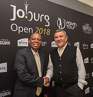 Executive Mayor of Johannesburg, Councillor Herman Mashaba, and Selwyn Nathan, the Executive Director of the Sunshine Tour, at the launch of the 2018 Joburg Open at Soweto Country Club, Johannesburg, South Africa.<br /> Picture: Golffile | Tyrone Winfield<br /> <br /> <br /> All photo usage must carry mandatory copyright credit (&copy; Golffile | Tyrone Winfield)