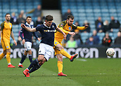 17th March 2019, The Den, London, England; The Emirates FA Cup, quarter final, Millwall versus Brighton and Hove Albion; Ryan Leonard of Millwall challenges Davy Propper of Brighton & Hove Albion